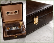 Lizard Leather Gift Set Humidor in Brown